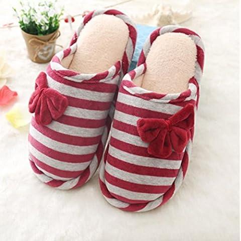 ZHLONG Sra casuales zapatillas de casa zapatillas de algodón caliente de deslizamiento interiores , 2 , small