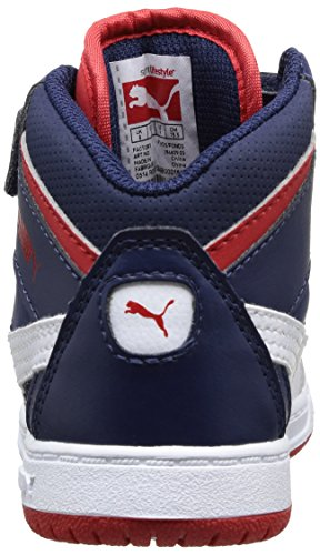 Puma Rebound V2 Hi Rebound V2 Hi Kids/07, Baskets mode bébé garçon Bleu (Peacoat-White-High Risk Red 03)