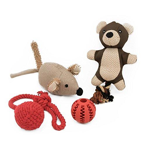 pettec-activeplay-juguetes-para-perros-4-piezas-con-pelota-de-snack-juguete-para-tirar-y-2-peluches