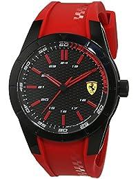 Ferrari 0830299 RedRev - Reloj analógico de pulsera para hombre (cuarzo, correa de silicona