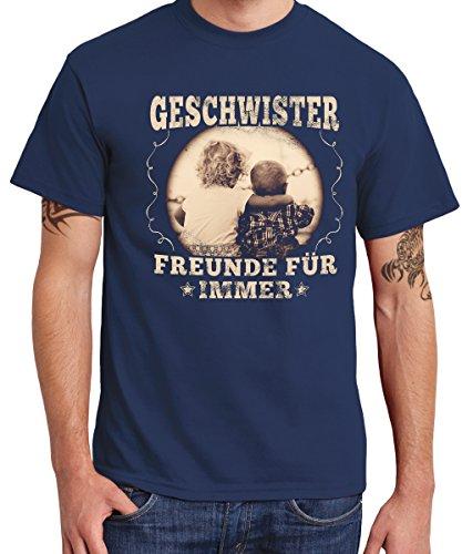 clothinx - Geschwister - Freunde für Immer - Bruder & Schwester Boys T-Shirt Navy, Größe L
