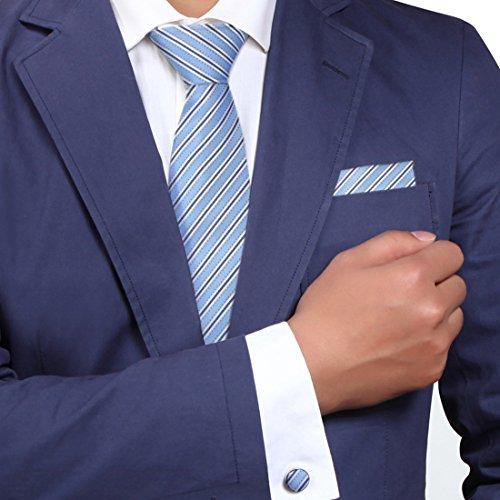 Blau Gestreiften Krawatte (H5197 Blau Gestreift Excellent Geschenk Seide Krawatte Taschentuch Manschettenkn?pfe Fein geschenk Box Set 3PT Von Y&G)