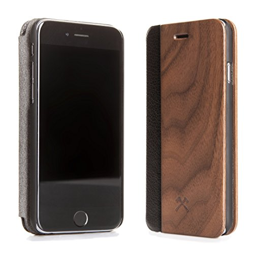 Woodcessories - EcoFlip Case - Premium Design Hülle, Case, Cover für das iPhone aus FSC zert. Holz & Rundumschutz (iPhone 7 Plus/ 8 Plus, Walnuss)