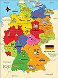 Poster 30 x 40 cm: Bundesländer für Kinder von Fluffy