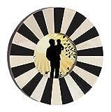 Mejores tratos - PRIME DÃA SouvNear 4x4 redondo marco de madera foto - 18.8 cm - en blanco y negro