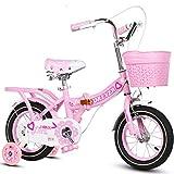 ZXUE Poussette pliante pour enfants filles princesse modèles vélo enfants vélo 3-10 ans (Couleur : Rose, taille : 12 pouces)