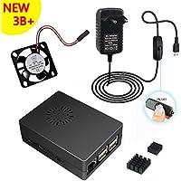 Micro USB 5V 3000mA Adaptador Interruptor de alimentación + Caja de caja negra ABS + disipador de calor + ventilador para Raspberry Pi (equipo básico de experimentación de arrancador de escritorio)