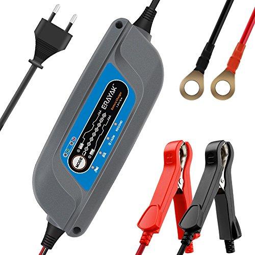 ERAYAK 5.0A 12V 8 Fase Caricabatterie Carica Batteria per Auto e Moto Automatico Mantenitore di Carica Mantenitore Batteria per Batteria al Piombo Acido 120Ah, Maintenance-Free, CA-CA, AGM e G