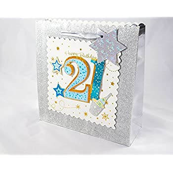 Age 21st Gift Bag Large Wrap Quality Giftbag Present Bags Birthday Male