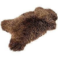 Marrón alfombra De Piel De Oveja Genuina, Mejor Calidad (Agnello: 100-110 cm)