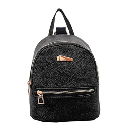 Mochila de mujer Switchali Mujeres Estudiante Casual Bolso de Escuela Moda PU Cuero Mochila Bolsas de Viaje pequeña mochila mochila escuela libro Bolso de hombro de mujer baratos (Negro)