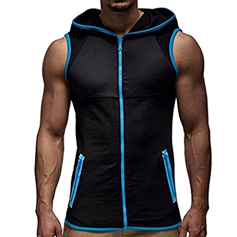Short-sleeved Top Longra® Summer Men Fashion Hooded Zipper Vest Sleeveless T-shirt Sports Use ! ! (XXL, Blue)