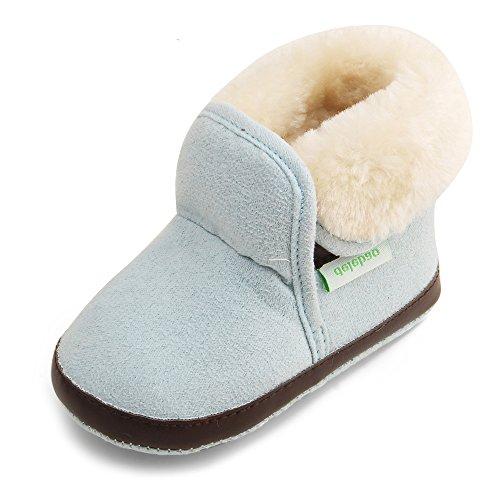 Delebao scarpe neonato stivaletti bambina invernali suola morbida scarpe bimba con pelo calzature per bambini ragazzi e ragazza (marrone&&blu,6-9 mesi)