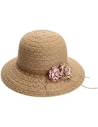 La Cabina Chapeau de Paille -Chapeaux Femme Melon en Fleur - Chapeau Femme été Plage-Chapeau Pliable Anti-soleil - Taille Unique