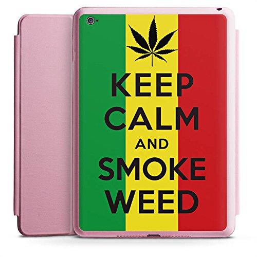 Apple iPad Air 2 Smart Case rosa Hülle mit Ständer Schutzhülle Keep Calm and Smoke Weed Phrases Sayings (Weed Immer Smoke)
