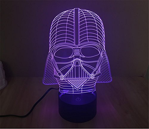Image of SmartEra 7 Color 3D Star War Darth Vader Night LED Desk Table Light - Black