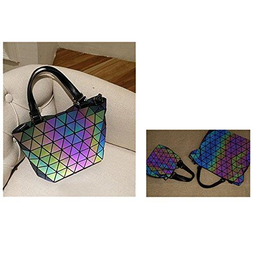Geometric Rautenförmige Gitter PU leuchtende Helle Farbe Bucket Tasche Handtaschen Black