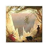 """Bilderdepot24 Glasbild Caspar David Friedrich – Alte Meister """"Kreidefelsen auf Rügen"""" 30×30 cm – Deko Glas – brilliante Farben, inkl. Aufhängung - 2"""