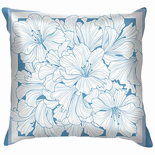 vintage cap Floral Decor Silk Tiussiue Delicate Scarf Throw Pillow Case Cushion Cover Pillowcase Watercolor for Couch 18X18 Inch -