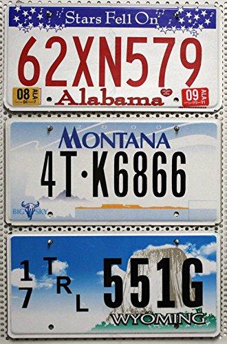 3 Nummernschilder SET / LOT # Kennzeichen der US Staaten ALABAMA + MONTANA + WYOMING Blechschilder # USA Fahrzeug-Schilder