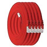 1m - CAT7 cable de red plano rojo - 5 piezas 10 Gbit/s Gigabit LAN piso flaco cable Patch compatible con compatible con CAT5 CAT6 CAT7 CAT8 Cat8 cinta Lan cable