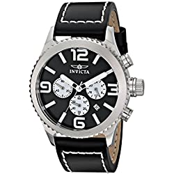 Invicta Men's Specialty 46mm Black Leather Band Steel Case Flame-Fusion Crystal Quartz Analog Watch 1427