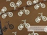 Mamasliebchen Jersey-Stoff Bikes All Over #Brown (0,5m) Fahrrad Bike Meterware