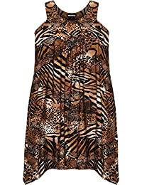WearAll Plus Size Womens Sequin Print Ladies Sleeveless Long Swing Vest Top - 14-28