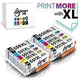Smart Ink Kompatibel Druckerpatronen Tintenpatronen Canon PGI 550 XL 550XL CLI 551 XL 551XL 10 Pack(2PGBK & 2BK/C/M/Y) mit Chip für PIXMA MG5450 MX725 MX925 MG6450 MG5550 IX6850 MG5650 IP7250 IP8750