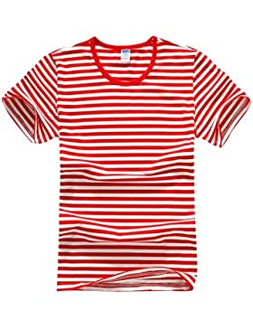 Baymate Unisexo Marina Camiseta De La Raya De Manga Corta T-Shirt Amantes Estilo Tops