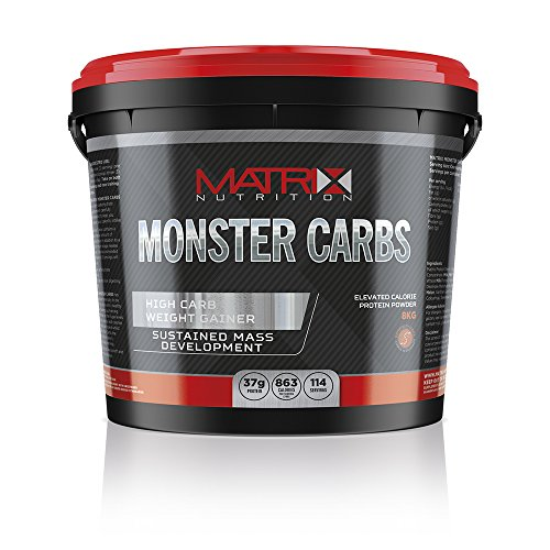 51ynlJbsUuL. SS500  - Matrix Nutrition Monster Carbs Weight Gainer 8KG - Mass Gain Protein Powder Shake (8KG, Banana Cream