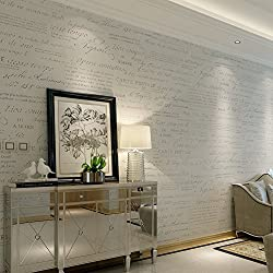 HANMERO® Murales decorativos pared letras inglesas papel pintado vintage no tejido papel de pared dormitorios/salón/hotel/ fondo de TV /color blanco, 0.53M*10M