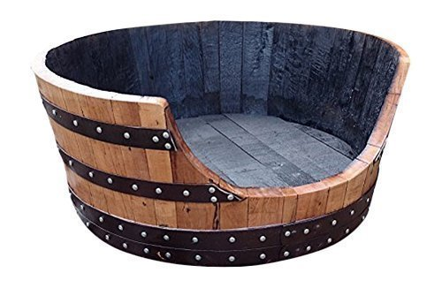 Recycled Solid Oak Whisky Barrel Dog Bed for Large Dogs