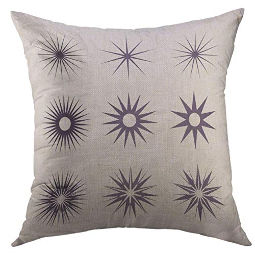 Dekorative Throw Pillow Cover für Couch Sofa, geometrische Formen Lichtstrahl Sammlung Hipster Frames Ideal für Retro-Projekte Starburst Radial Glanz Home Decor Kissenbezug 18 x 18 Zoll