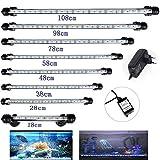DOCEAN Unterwasserleuchte 98CM Aquarium Lampe Beleuchtung 12.8W 5050SMD Weißlicht & Blaulicht 57 LEDs Leuchte mit EU Stecker Licht Wasserdicht für Fisch Tank, 12.8 W, 12 V