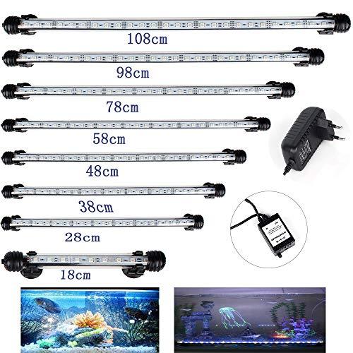 DOCEAN Aquarium Beleuchtung 27 LEDs Lampe Weißlicht und Blaulicht Lighting 48cm Leuchte für Fisch Tank mit EU Stecker und 5050SMD Licht Wasserdicht [Energieklasse A++]