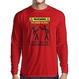Camiseta de Manga Larga para Hombre No me digas cómo Hacer mi Trabajo - Refranes Divertidos Ropa de Trabajo (Medium Rojo