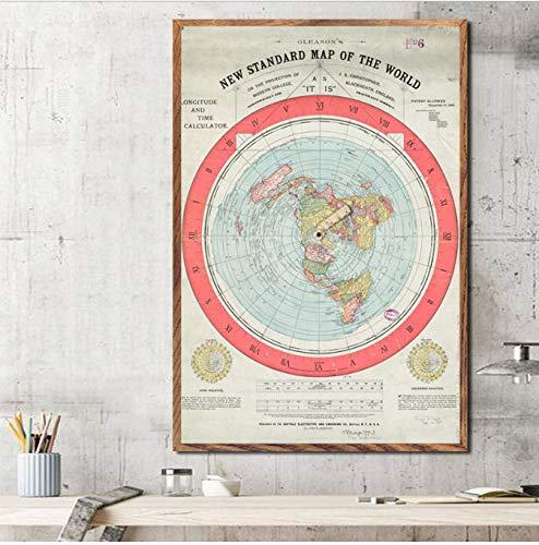 Haoxinbaihuo Mapa De La Tierra Plana Pintura Arte