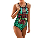 kolila Damen Tankini Swimwear Set Bohemia Print Weste Leopard Shorts Womens Zweiteiliger Bikini Badeanzug(Grün,L)