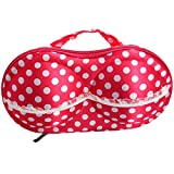 Orpio Travel Home Organizer Zip Bag / Protect Bra Underwear Bag / Lingerie Storage Box Pouch/ Undergarments Organizer (Red Polka)