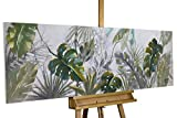 KunstLoft Acryl Gemälde 'Wildlife' 150x50cm   Original handgemalte Leinwand Bilder XXL   Blätter Pflanze Grün   Wandbild Acrylbild Moderne Kunst Einteilig mit Rahmen
