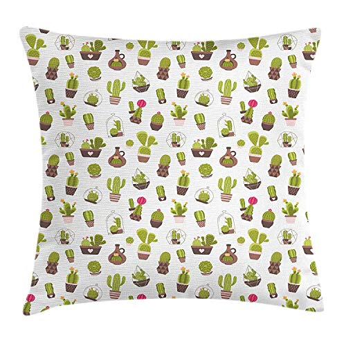Cushion Cover, Home and Garden Cactus Plants with Flowers Spiny Succulents Arizona Desert Growth, Decorative Square Accent Pillow Case, 18 X 18 inches, Multicolor ()