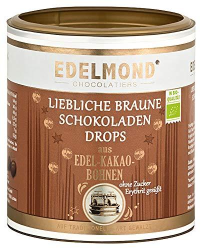 Edelmond Bio Erythrit Schokoladen Perlen. Liebliche + Laktosefreie Schokolade ohne Zucker, eine Erythritol Süßigkeit. Vegan - 250g