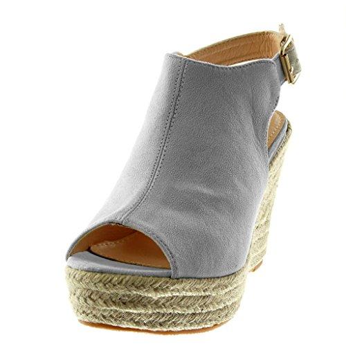 Angkorly Scarpe Moda Mules Sandali Zeppe Peep-Toe con Cinturino Alla Caviglia Donna Corda Intrecciato Tacco Zeppa Piattaforma 11 cm Grigio chiaro