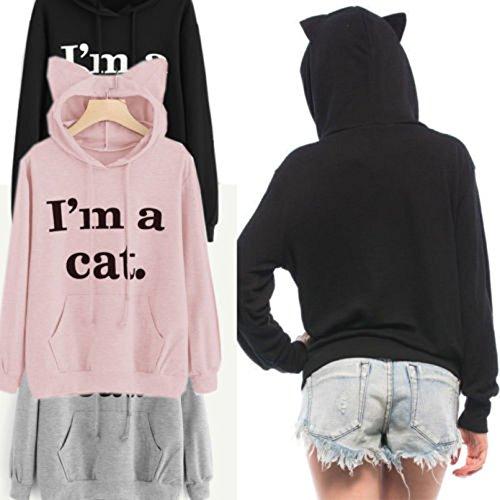 BriskyM Hoodies, Keepwin I'm a cat. Casual Oreille de chat Encapuchonné Capuche Pullover Sweat-shirt Manche Longue Chemisier Tops Shirt Rose