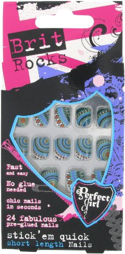 Perfect Girl Brit Rocks Faux Ongles Stickers Autocollants Motif aztèque