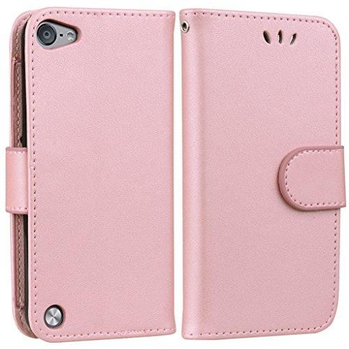 Yunbaoz iPod Touch 5/6 Lederhülle Rein Farbe Wallet Case Hülle Rose (Männer Wallet Für Ipod 4 Case)
