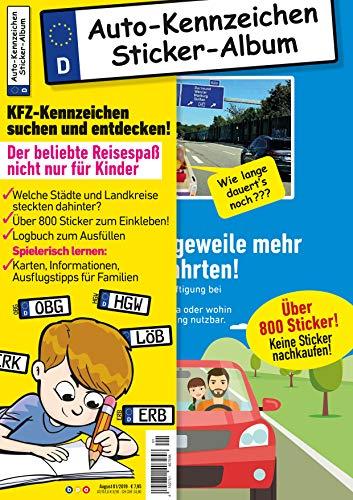 Kinder-Reisespiel KFZ-Kennzeichen Sticker-Sammelalbum fürs Handgepäck, Mitmachbuch für die Ferien, Ratespaß unterwegs auf Reisen, Beschäftigung für Kinder bei langen Autofahrten -