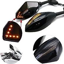 KaTur -Espejos retrovisores con luces de intermitencia frontal y trasera integradas para motocicleta, color negro mate y gris