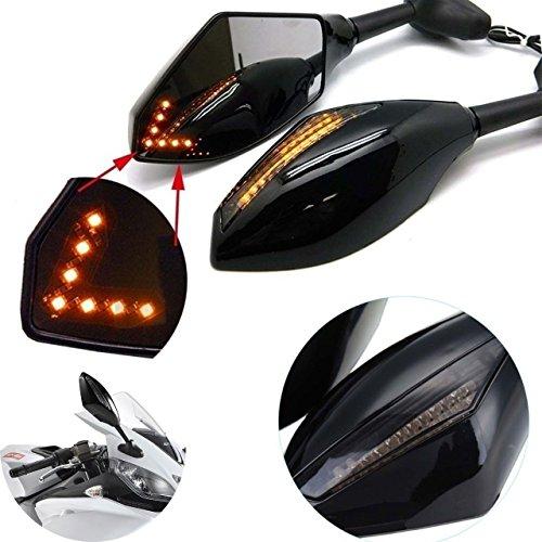 Natgic 1Paio specchietto retrovisore Universale Moto con LED indicatore di direzione Freccia Moto indicatore Laterale retrovisore specchi per Suzuki Yamaha Honda Kawasaki Ducati Triumph-Black
